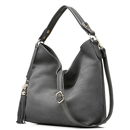 Taschen Damen Handtaschen Leder Henkeltasche Designer Taschen Hobo Umhängetasche Wildleder (Leder Tasche Grau)
