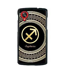 Fuson 2D Printed Sunsign Sagittarius Designer back case cover for LG Google Nexus 5 - D4260