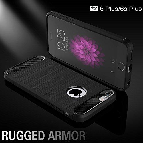 iPhone 6 Plus hülle,COOLKE Premium weiche Karbonfaser Elastisch Soft TPU Schale Schutz Bumper Tasche Case Cover Handyhülle Schutzhülle für Apple iPhone 6 Plus/ iPhone 6s Plus (5.5 inches) - Schwarz Schwarz
