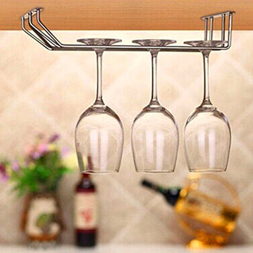 Generic Stainless Steel Upside Down Wine Glass Cup Rack Hanging Stemware Holder Organizer