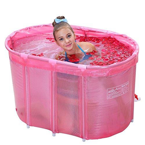 Bathtub PHTW HTZ Baignoire Ovale Baignoire Adulte en Acier Inoxydable (Rose, 110 * 60 * 65cm) +