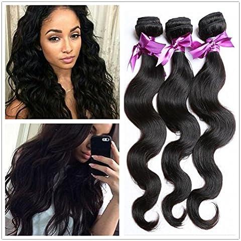 XQXHair 3Pcs Lotto 10 100% non trattati del Virgin dei capelli dell'onda del corpo nero naturale di capelli umani tesse 300g / lot-26 , 16 16 18 - Calore Trattato Capo