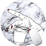Weneth Runde Mauspad Cooles Gaming Mousepad Rutschfest Mausunterlage Gummi Ränder Mauspad für Laptop & Reise-Marmor-Handschale