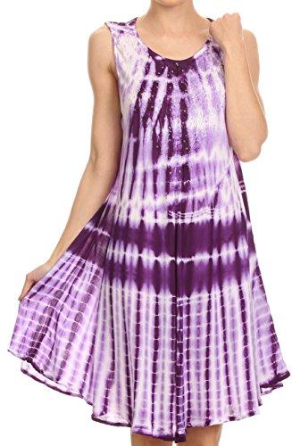 Sakkas 16607 - Frankie Zwei Ton-Bindung gefärbter Behälter-Kleid / Vertuschung mit Stickerei-Ausschnitt - Purple - OS (Stickerei Kaftan Mit)