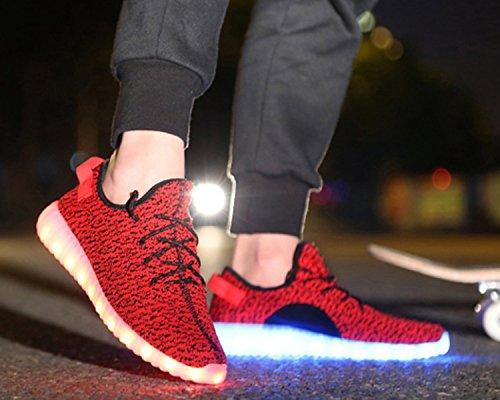 Aidonger Scarpe da corsa 7 colori alla moda carica LED luminoso Unisex da uomo donna Scarpe sportive LED EU35-EU46 rosso