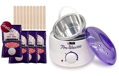 Crisnails® Kit de Depilación Profesional con Calentador de Cera de 500ml, 3+1(gratuito) Bolsas de Frijoles de Cera de Color Rosa(100g/ud), 10 Espátulas de Madera