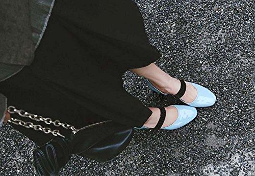 NobS Pelle Colore corrispondenza Mary Jane Scarpe Scarpin lavoro Blue