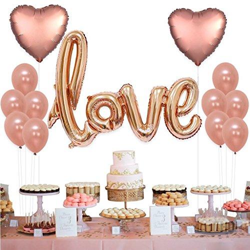 Tumao 13 Stück Rose Gold Love Luftballons Folienballon Herz Ballon Hochzeit Latex Luftballons für Geburtstag, Brautdusche, Party Dekoration, Valentinstag, Weihnachten. - Yoyo Ballon