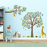 Decowall DML-1502P1512 Árbol de Grande Tronco y Ramas con Animales Vinilo Pegatinas Decorativas Adhesiva Pared Dormitorio Salón Guardería Habitación Infantiles Niños Bebés