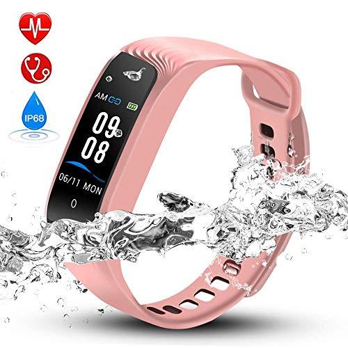 Hommie Fitness Tracker Waterproof Activity Tracker Kalorienzähler, Schrittzähler, Pulsmesser, Schlaf-Monitor, Reminder Ersatzarmband Sportband für iOS & Android, Rosa