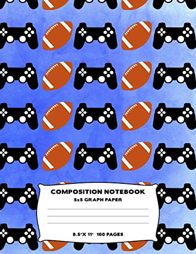 Composition Notebook: American Football Video Game Controller Grid Graph Paper Quad Lined Large Size Journal Book Blue Sport Fan Themed Design Soft Cover