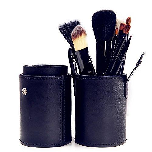XUAN 12 PCs maquillage pinceau barillet installé pinceau poudre de fibre rose , black