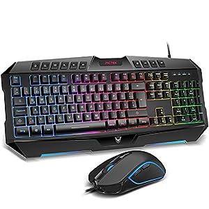 Gaming Tastatur und Maus, PICTEK Tastatur Maus Set Tastatur Gaming PC Rainbow-LED-Hintergrundbeleuchtete, kabelgebundene, Programmierbare