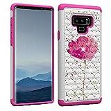 Slynmax Paillettes Coque pour Samsung Galaxy Note 92en 1couche support souple Gel Paillettes Bling Diamant Housse en silicone + 1* stylet fleur