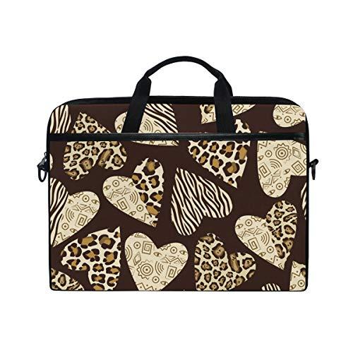 Leopard Print Canvas Handtasche (Ahomy 14-15.4 Zoll Laptoptasche Valentinstag Herz Leopard Print Zebra Canvas Stoff Laptop Tasche Bussiness Handtasche mit Schultergurt für Damen und Herren)