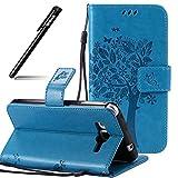 Hülle Leder für Samsung Galaxy Grand Prime Blau Cover,BtDuck Relief Katzen PU Leder Stand Tasche Etui Tasche Wallet Stand Case Briefcase Lederhülle Stand für Samsung Galaxy Grand Prime G530