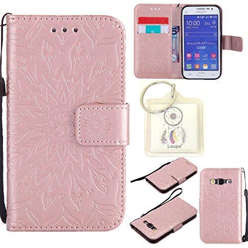 Preisvergleich Produktbild für Galaxy Core Prime SM-G360 G361 (4,5 Zoll) Hülle,Geprägte Muster Handy hülle / Tasche / Cover / Case für das Samsung Galaxy Core Prime SM-G360 G361 (4,5 Zoll) PU Leder Flip Cover Leder Hülle Kunstleder Folio Schutzhülle Wallet Tasche Etui Standfunktion Kredit Kartenfächer+Schlüsselanhänger (T) (3)