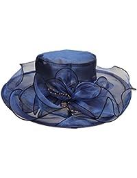 P Prettyia Sombrero de Sol de Organza Adorno de Flor Ala Ancha Pamela de  Playa Boda 09bac65fca7