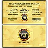Einladungskarten zur Jugendweihe Einladung Jugendweihekarten für Jungen & Mädchen inkl Ihres Namen & Daten personalisiert in GOLD VIP - 50 Stück Einladungskarte Jugendweiheeinladungen Einladungen