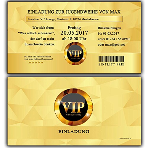 Einladungskarten Zur Jugendweihe Einladung Jugendweihekarten Für Jungen U0026  Mädchen Inkl Ihres Namen U0026 Daten Personalisiert In GOLD VIP   20 Stück ...
