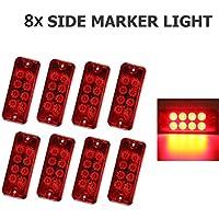 VIGORFLYRUN PARTS LTD 4pcs 8 LED Seitenmarkierungsleuchten Markierungsleuchten Standlicht Indikator Lampe for 12V LKW Anh/änger Bus Van Parkleuchten RV Bus Au/ßenleuchten Parkleuchten Rot