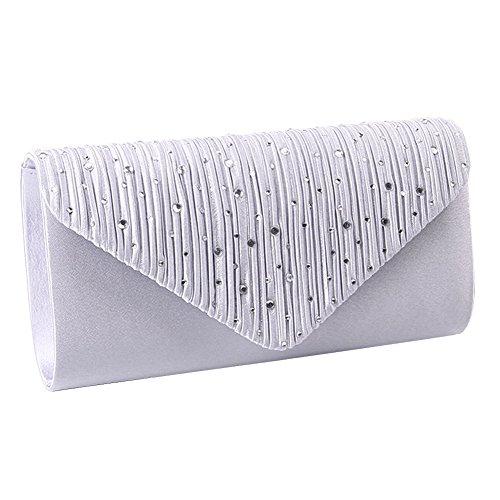 Damen Strass Umschlag Clutch Bag Classic Satin gefaltete Clutch Abend Handtasche Geldbörse (Silber) (Geldbörse Kupplung Abend Handtasche Satin)