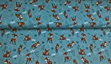 1m Baumwoll-Jersey-Stoff Bambi Altes Mint Kinder, Muster,