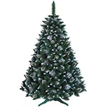 CHRISTMAS TREE 7ft New Boxed Traditional Forest Green Luxury TREE - 220cm - SNOW-COVERED PINE WITH CRYSTALS