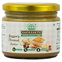 AMOREARTH Natural Peanut Butter with Jaggery(No Artificial Sugar, No Artificial Colour, No Added Preservatives, Vegan) - 500 gm