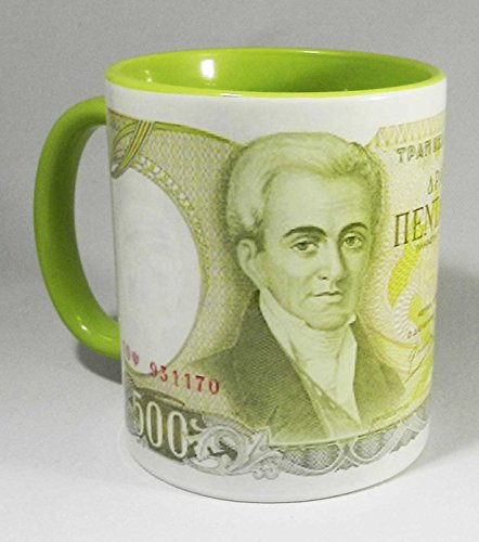 500-greek-drachma-bank-note-mug-with-green-glazed-handle-and-inner-by-half-a-donkey