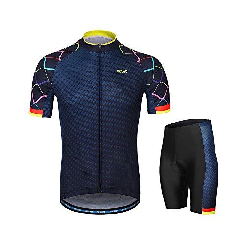 Lixada Herren Radtrikot Set, Atmungsaktiv Quick-Dry Kurzarm Radsport-Shirt + Gel Gepolsterte Shorts, (Typ 3, XXL)