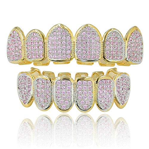 ldete rosafarbene, mit Diamanten besetzte Goldklammern, Teeth Grillz Caps, Top Bottom Set, Zähne mit Diamanten, Dekoration für Dance Party Vampire Cosplay ()
