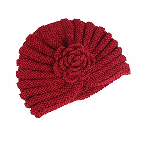 JANLY Femmes Ladies Boho Knitting Cancer Hat Beanie Scarf Turban Head Wrap Cap (Rouge)