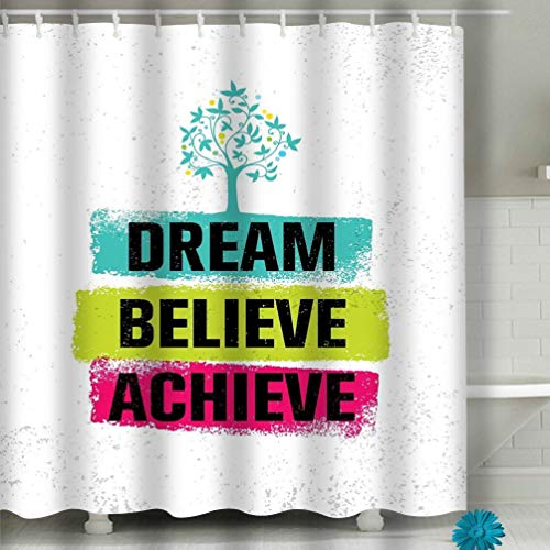 zexuandiy Dream Believe Achieve Inspiring Creative Motivation Quote po Shower Curtain Set, Bathroom Fabric Curtains Waterproof 60'x72'