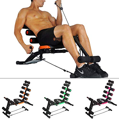 Xn8 Sports Bauchmuskelstuhl Multi 6 Gymnastiktrainer Bauchtrainer Fitness Crunches Maschine Workout Trainingsbank Home Gym Exercise, Xn8 Rocket-002, Rose, Einheitsgröße