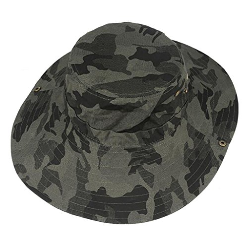 Zxwzzz Hüte Huts Herren Sonnenhut Sommer Outdoor Sun Camouflage Cap Faltbare Große Eaves Wandern Angeln Gürtel Kinn mit Fischer Hut (Color : A)