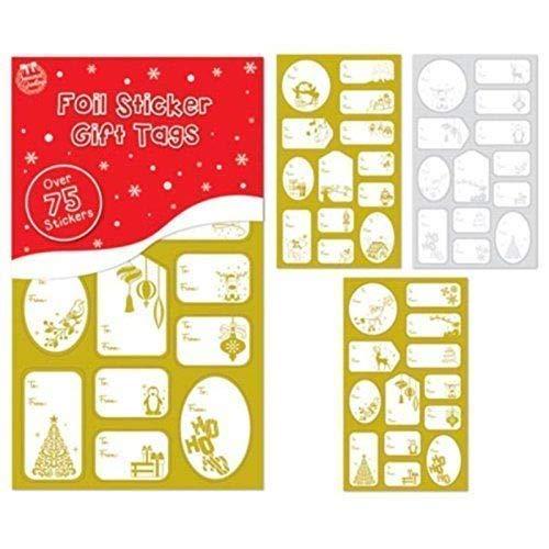 Pegatinas Navidad Papel Aluminio x 100 Doradas Plateadas