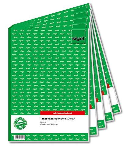 Sigel SD030/5 Tagesbericht / Regiebericht A4, 2x40 Blatt, selbstdurchschreibend, 5er Pack