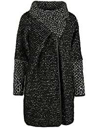 GG Frauen Damen Italian Lagenlook Quirky Schicht Wool Zip Langarm-Cocoon-Mantel-Jacken Poncho Cape Oversize, Schwarz, One Size Plus 42-46
