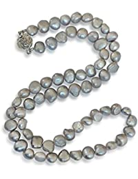 Collar de perlas natural de freshwater, perlas cultivadas de agua dulce, barroco, gris, 7-8mm