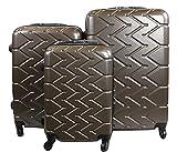 Dublin 6 set da 3 pezzi valige trolly in ABS e policarbonato con 4 ruote girevoli 360° gradi colori vari (Caffè)