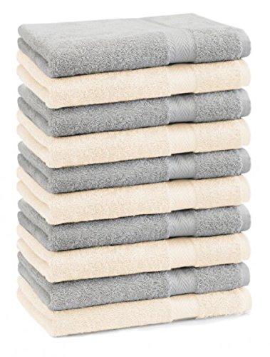Betz lot de 10 serviettes débarbouillettes taille 30x30 cm 100% coton Premium couleur gris argenté et beige