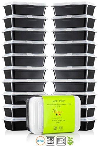 Chef\' S STAR 1vano riutilizzabile, contenitori per alimenti con coperchi-935,5gram-senza BPA-adatto al microonde-lavabile in lavastoviglie-impilabile-10per confezione-set di 2