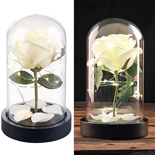 Lunartec Blume: Edle Kunst-Rose mit LED-Beleuchtung in Echtglas-Kuppel, weiß (LED Blume)