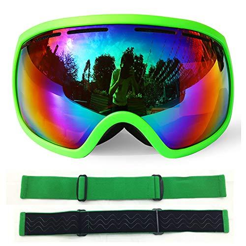 YXZN Ski Goggles Double Anti Nebel Große Kugelförmige Outdoor-Sportgeräte Erwachsene Männer Und Frauen,Green,18X9.5CM