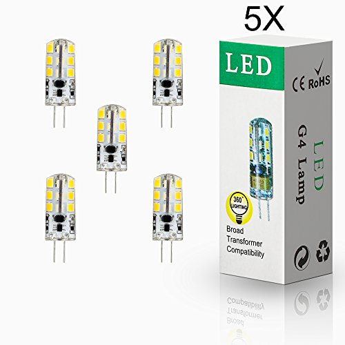 ELINKUME 5x G4 4W LED 24* 2835 SMD Lámpara Bombilla 3000K Luz Blanco Cálido lámpara blanco cálido 12V AC/DC.Ensure Los productos funcionan sin problemas, por favor use el transformador LED AC/DC12V