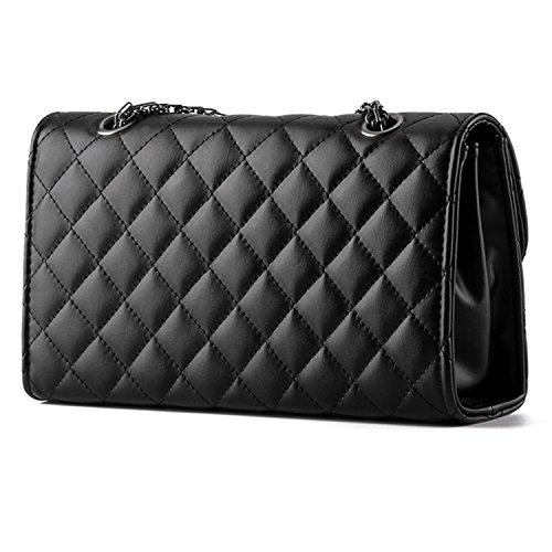 Young & Ming - Damen Leder Mini Handtaschen Clutches Schultertaschen Raute mit Metallkette Schwarz