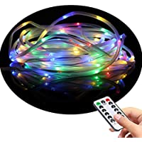 LED Fairy Rope String Lights - Liwiner Battery Operated 33FT 100 LED String Light with Remote Timer 8 Mode Dimmable Strip Lights for Garden Patio Party Christmas Tree Outdoor/Indoor Decoration