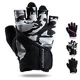 Fitgriff Fitness Handschuhe für Damen und Herren - leichte Trainingshandschuhe ohne Handgelenkstütze für Krafttraining, Bodybuilding, Gewichtheben & Crossfit Training (Camo-Grey, M)