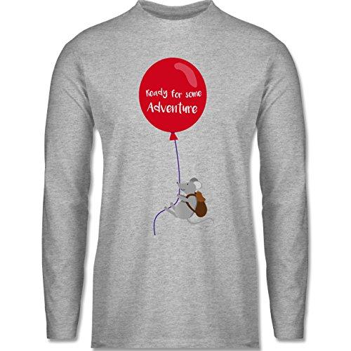 Sonstige Tiere - Ready for some Adventure - Longsleeve / langärmeliges T-Shirt für Herren Grau Meliert